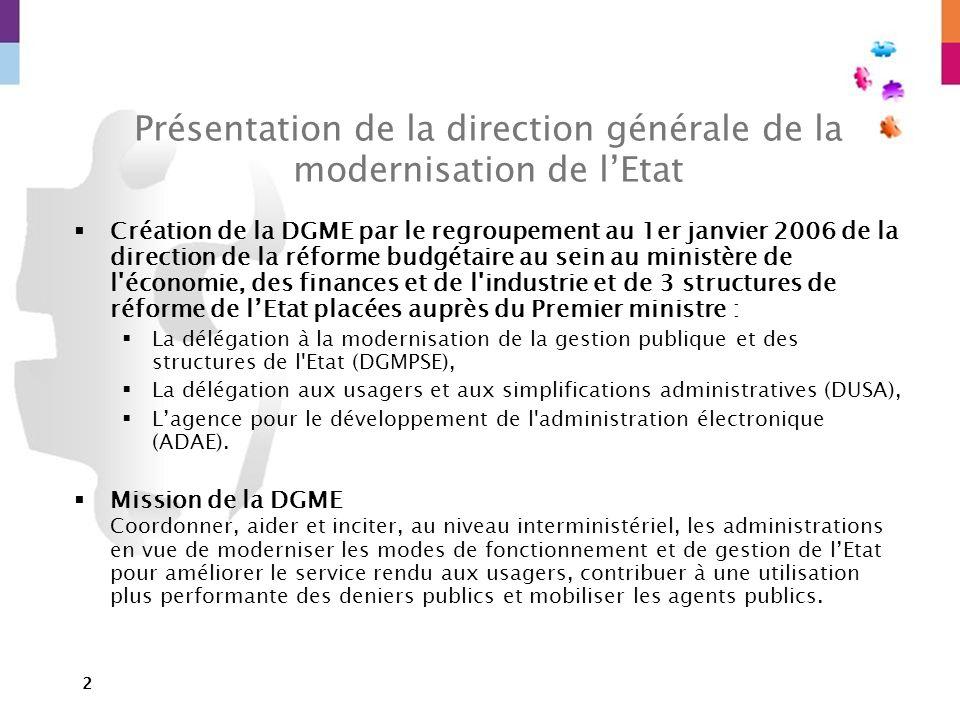 2 Présentation de la direction générale de la modernisation de lEtat Création de la DGME par le regroupement au 1er janvier 2006 de la direction de la