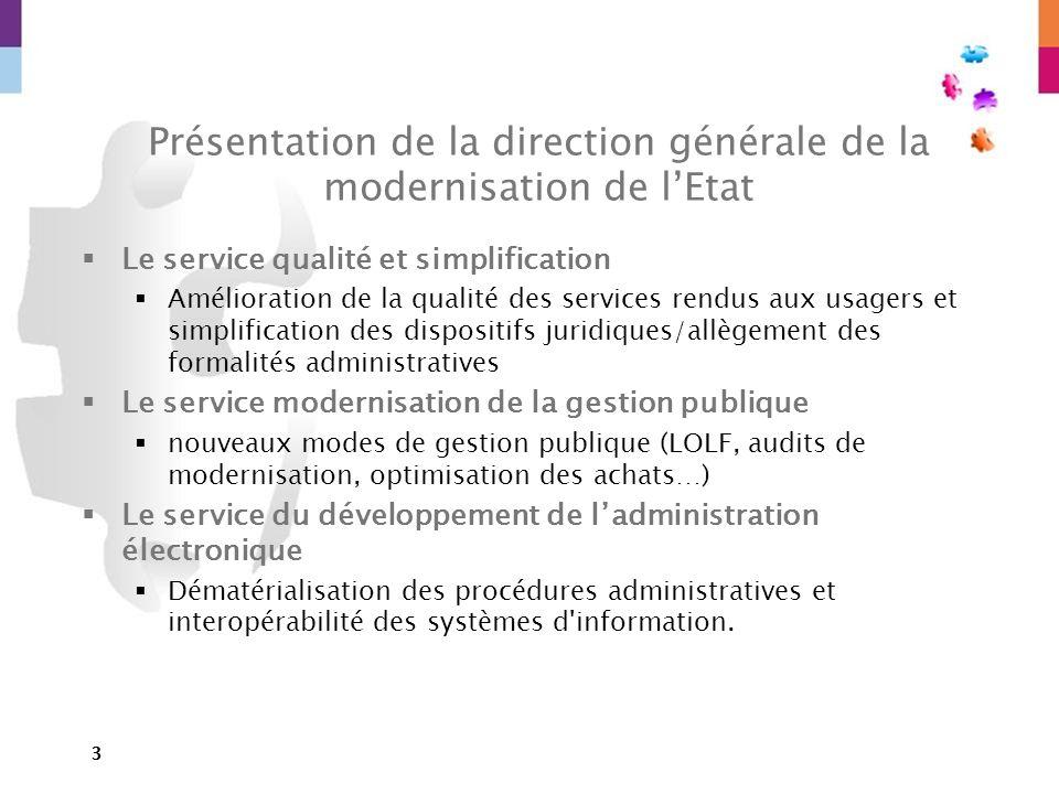 3 Présentation de la direction générale de la modernisation de lEtat Le service qualité et simplification Amélioration de la qualité des services rend