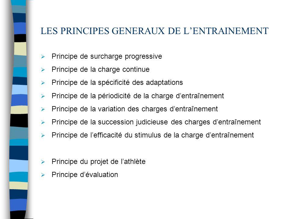 LES PRINCIPES GENERAUX DE LENTRAINEMENT Principe de surcharge progressive Principe de la charge continue Principe de la spécificité des adaptations Pr