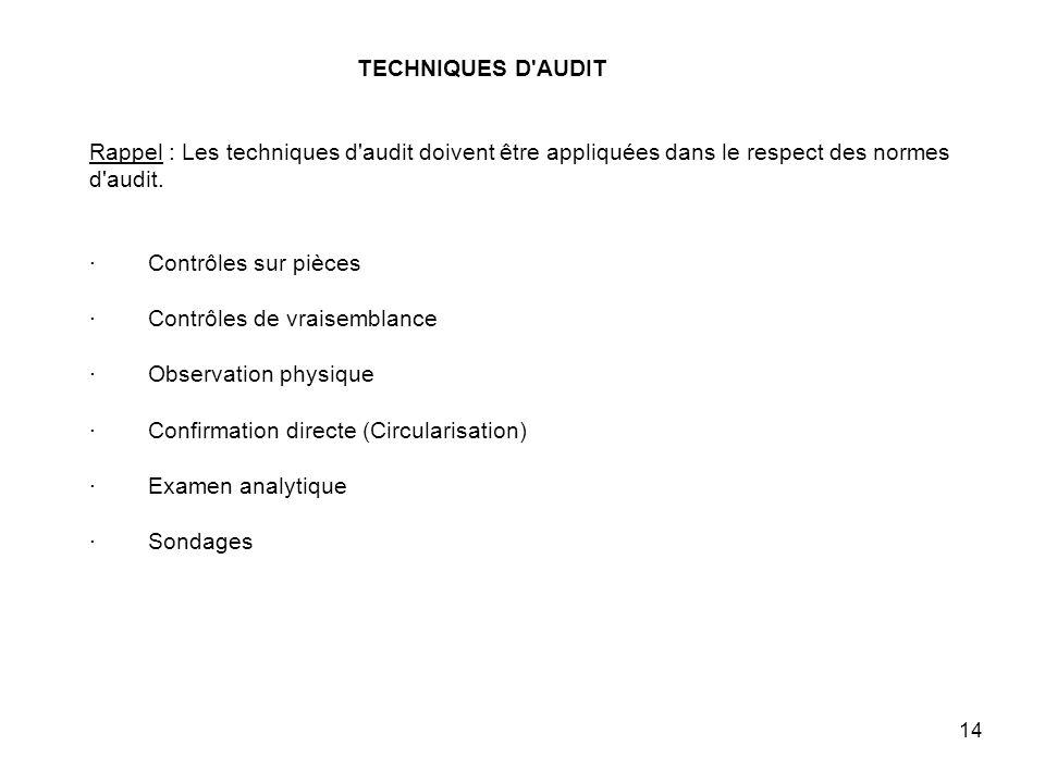14 TECHNIQUES D AUDIT Rappel : Les techniques d audit doivent être appliquées dans le respect des normes d audit.