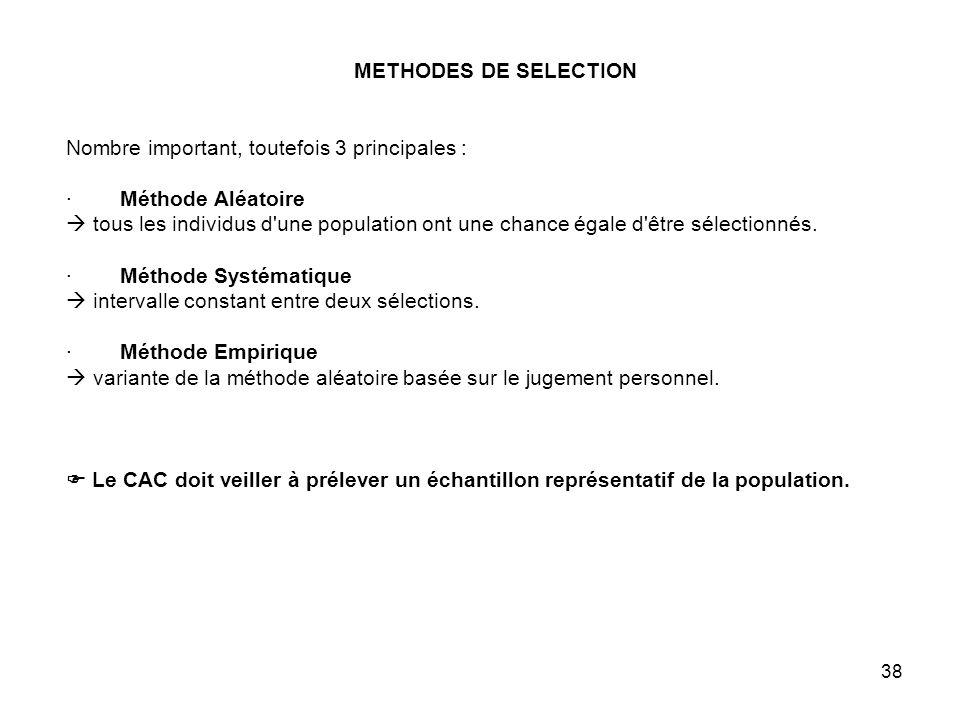 38 METHODES DE SELECTION Nombre important, toutefois 3 principales : · Méthode Aléatoire tous les individus d une population ont une chance égale d être sélectionnés.
