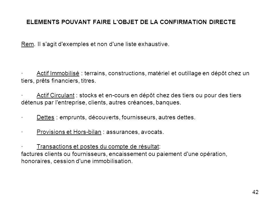 42 ELEMENTS POUVANT FAIRE L OBJET DE LA CONFIRMATION DIRECTE Rem.