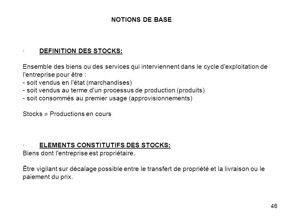 46 NOTIONS DE BASE · DEFINITION DES STOCKS: Ensemble des biens ou des services qui interviennent dans le cycle d exploitation de l entreprise pour être : - soit vendus en l état (marchandises) - soit vendus au terme d un processus de production (produits) - soit consommés au premier usage (approvisionnements) Stocks Productions en cours · ELEMENTS CONSTITUTIFS DES STOCKS: Biens dont l entreprise est propriétaire.