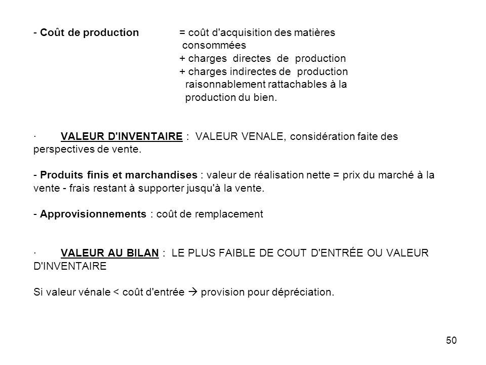 50 - Coût de production = coût d acquisition des matières consommées + charges directes de production + charges indirectes de production raisonnablement rattachables à la production du bien.
