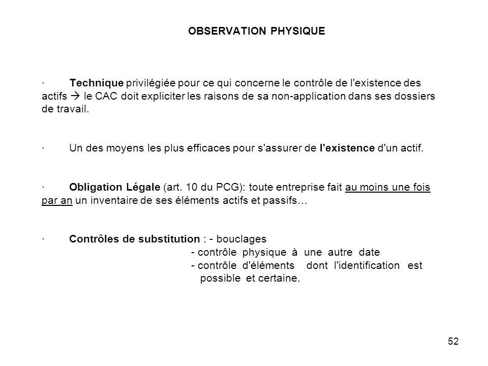 52 OBSERVATION PHYSIQUE · Technique privilégiée pour ce qui concerne le contrôle de l existence des actifs le CAC doit expliciter les raisons de sa non-application dans ses dossiers de travail.