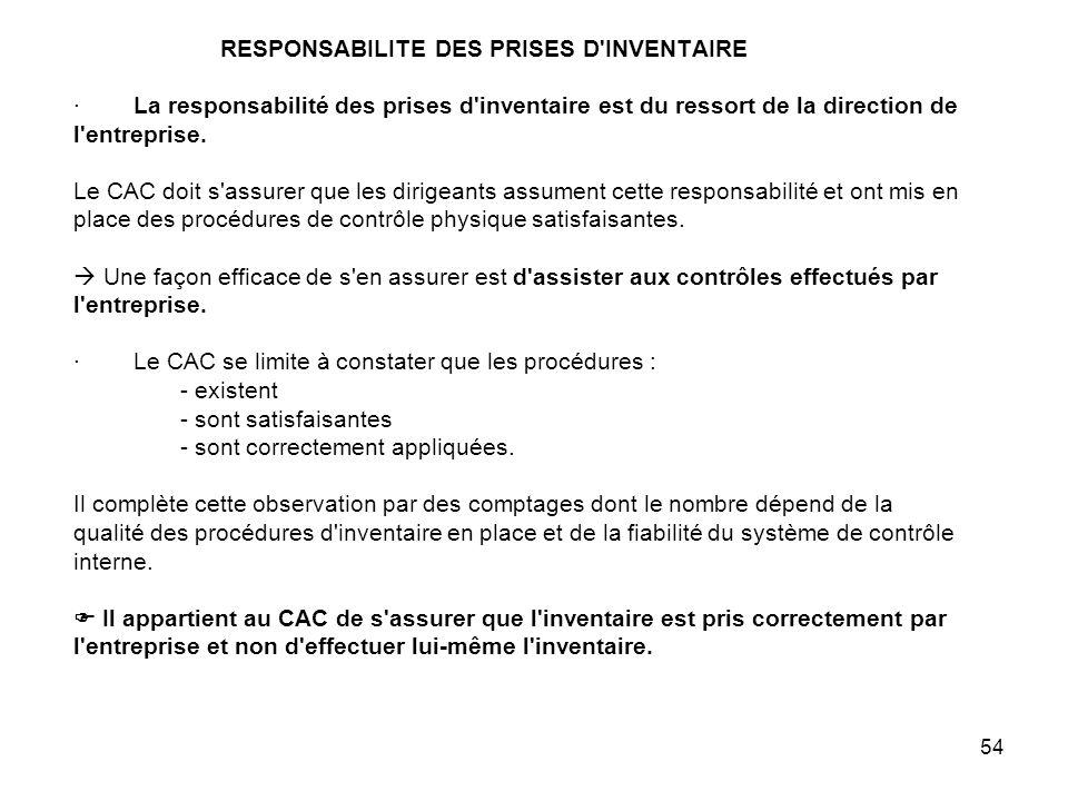 54 RESPONSABILITE DES PRISES D INVENTAIRE · La responsabilité des prises d inventaire est du ressort de la direction de l entreprise.