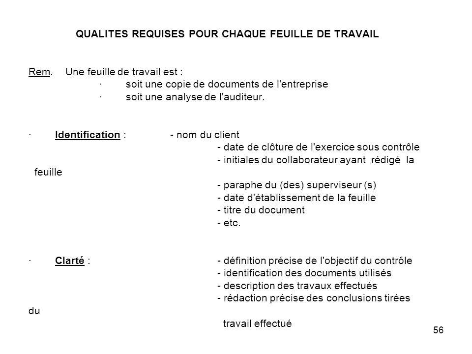 56 QUALITES REQUISES POUR CHAQUE FEUILLE DE TRAVAIL Rem.