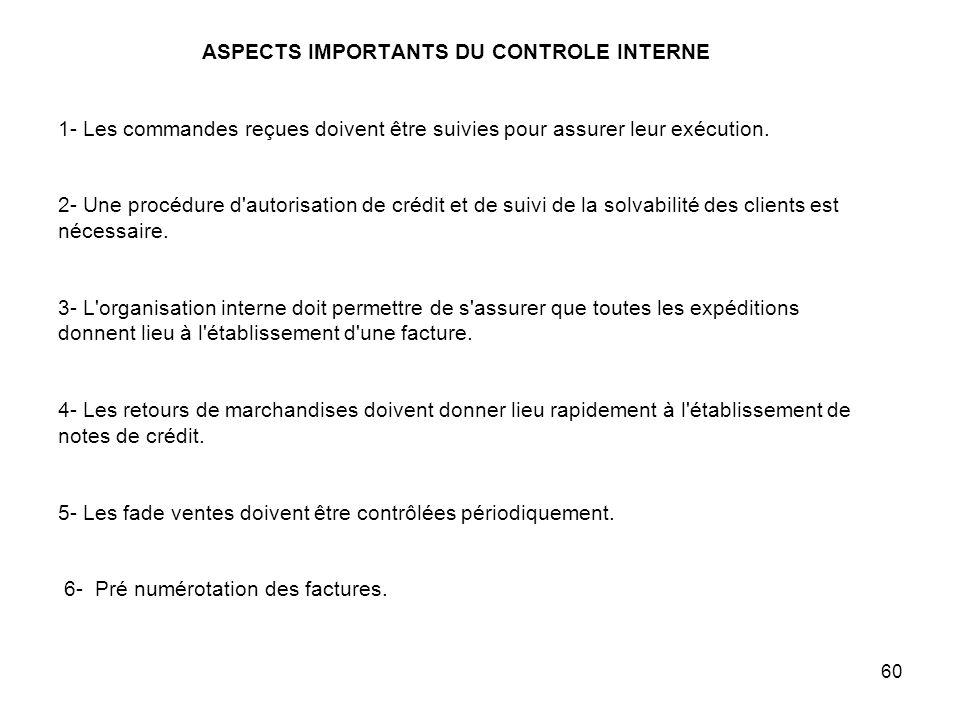60 ASPECTS IMPORTANTS DU CONTROLE INTERNE 1- Les commandes reçues doivent être suivies pour assurer leur exécution.