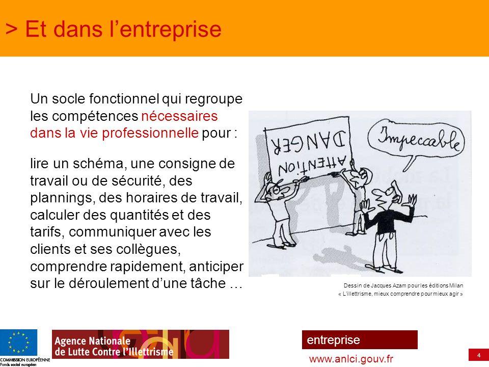 5 entreprise www.anlci.gouv.fr > Sur les 3.100.000 personnes confrontées à lillettrisme (enquête IVQ INSEE-ANLCI 2006) 53 % ont plus de 45 ans 57 % travaillent soit 1.700.000 personnes 74 % parlaient uniquement le Français à la maison à lâge de 5 ans Parmi les personnes dans lemploi, 8 % sont en situation dillettrisme