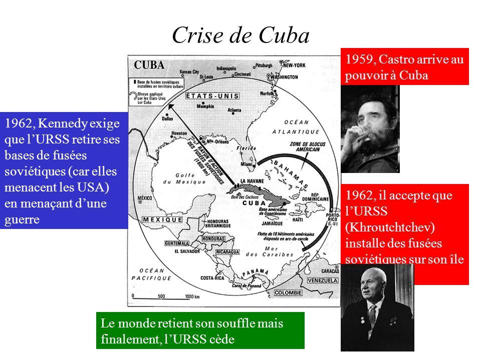 Crise de Cuba 1959, Castro arrive au pouvoir à Cuba 1962, il accepte que lURSS (Khroutchtchev) installe des fusées soviétiques sur son île 1962, Kenne