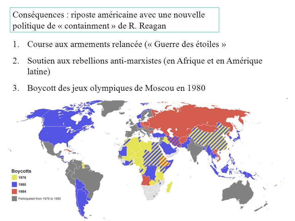 Conséquences : riposte américaine avec une nouvelle politique de « containment » de R. Reagan 1.Course aux armements relancée (« Guerre des étoiles »
