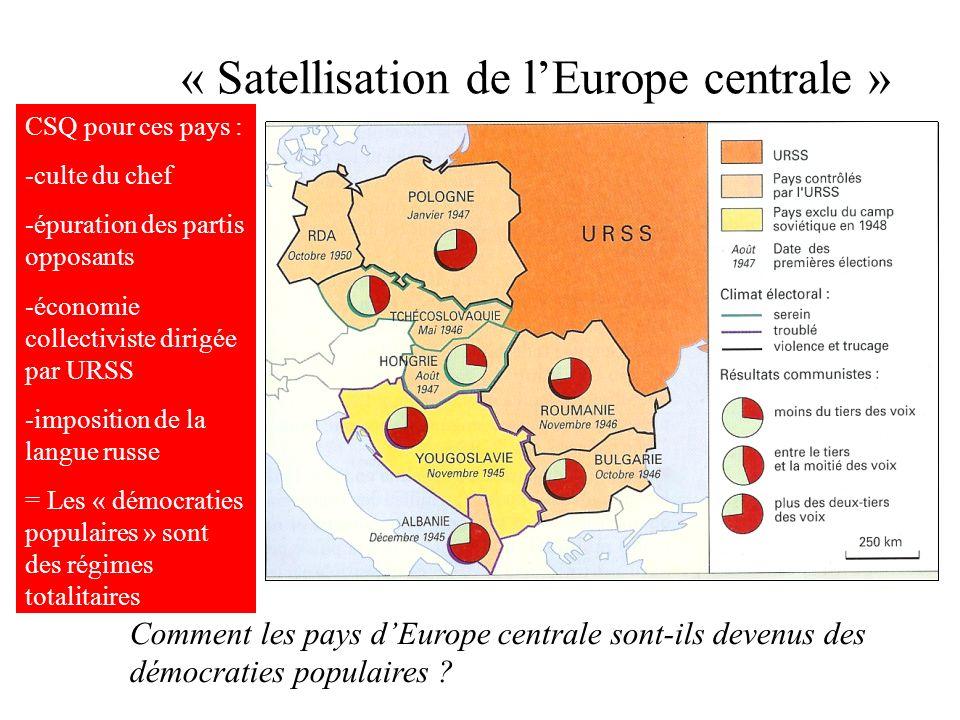 « Satellisation de lEurope centrale » Comment les pays dEurope centrale sont-ils devenus des démocraties populaires ? CSQ pour ces pays : -culte du ch