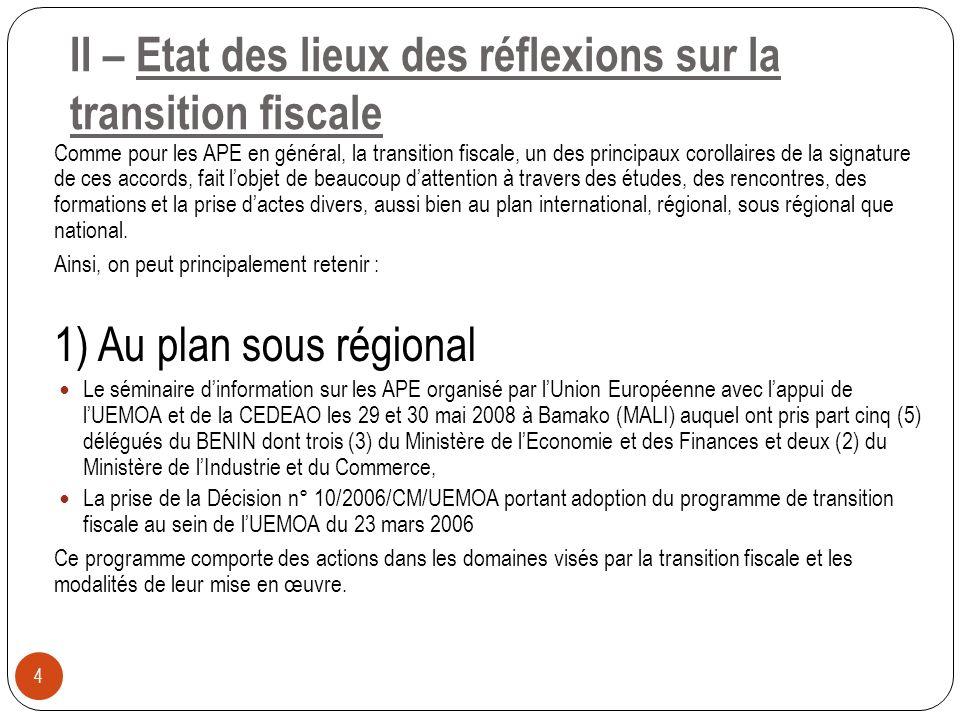 2) Au plan national 5 La formation à lInstitut FORHOM à la Rochelle en France de quatre (4) cadres de la DGID, sur financement de lUnion Européenne, sur le thème « Stratégies et instruments de mobilisation des recettes fiscales dans le contexte de transition fiscale », du 30 juillet au 17 août 2007, Les journées de réflexion sur les APE organisées par le Ministère de lEconomie et des Finances les 17 et 18 juillet 2008 à lhôtel La Capitale de Porto-Novo, auxquelles ont pris part des représentants du Cabinet, de la DGID, de la DGDDI, de la DGAE, de la DGB et de la DPP, Les journées de réflexion sur les APE organisées par le Ministère de lIndustrie et du Commerce du 02 au 04 septembre 2008 à lhôtel Bel Azur de Grand-Popo, La prise de larrêté n° 110/MEF DC/CTE/SP du 16 février 2009 portant création et attributions du Groupe de Travail APE du Ministère de lEconomie et des Finances, conformément aux recommandations des journées de réflexions des 17 et 18 juillet 2008.