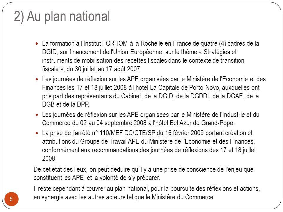 2) Au plan national 5 La formation à lInstitut FORHOM à la Rochelle en France de quatre (4) cadres de la DGID, sur financement de lUnion Européenne, s