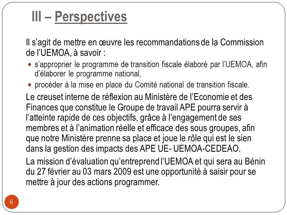III – Perspectives Il sagit de mettre en œuvre les recommandations de la Commission de lUEMOA, à savoir : sapproprier le programme de transition fisca