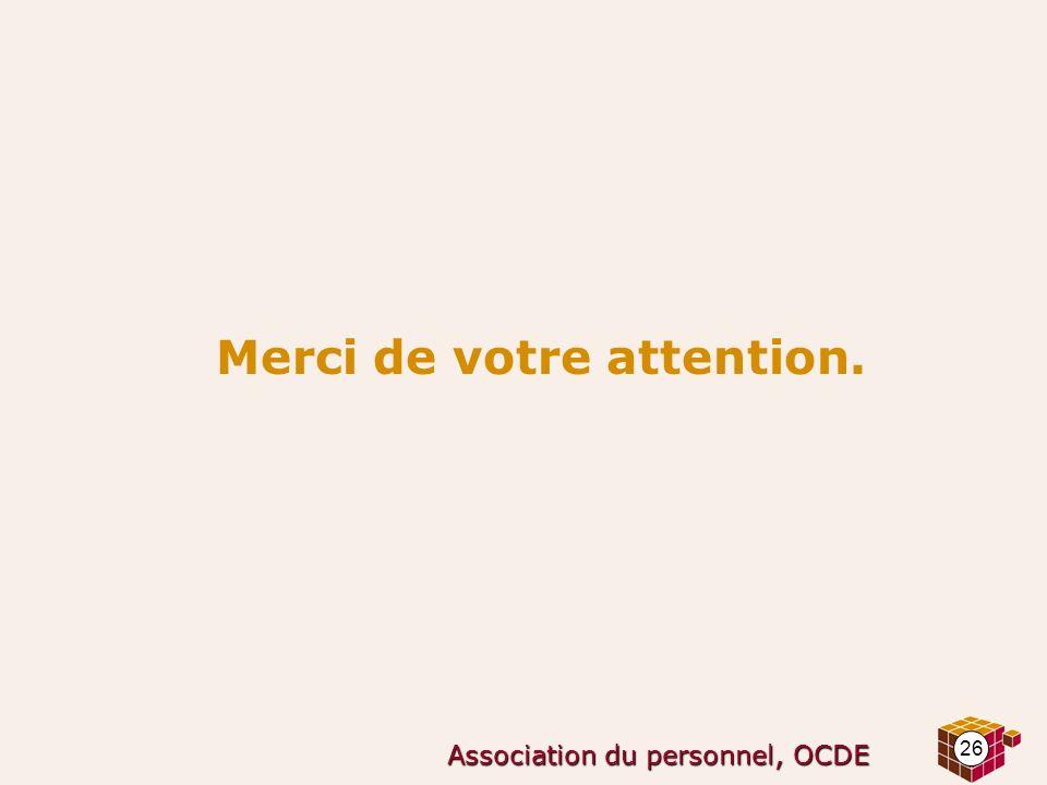 26 Association du personnel, OCDE Merci de votre attention.