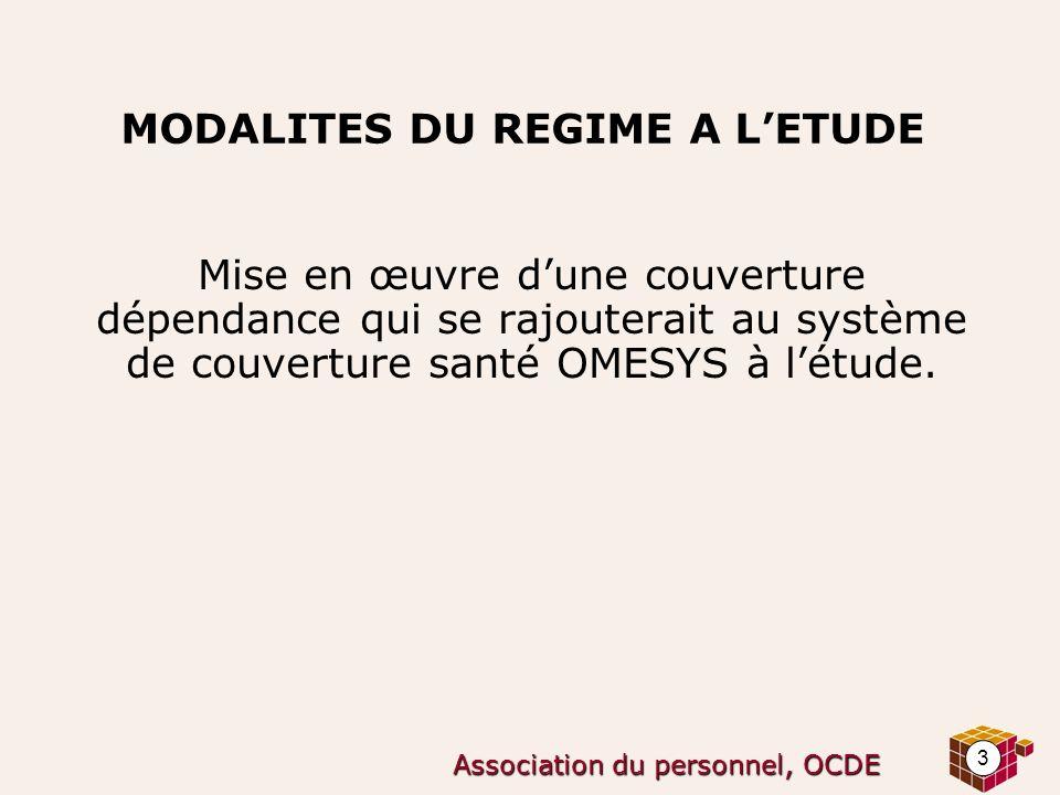 3 Association du personnel, OCDE MODALITES DU REGIME A LETUDE Mise en œuvre dune couverture dépendance qui se rajouterait au système de couverture san
