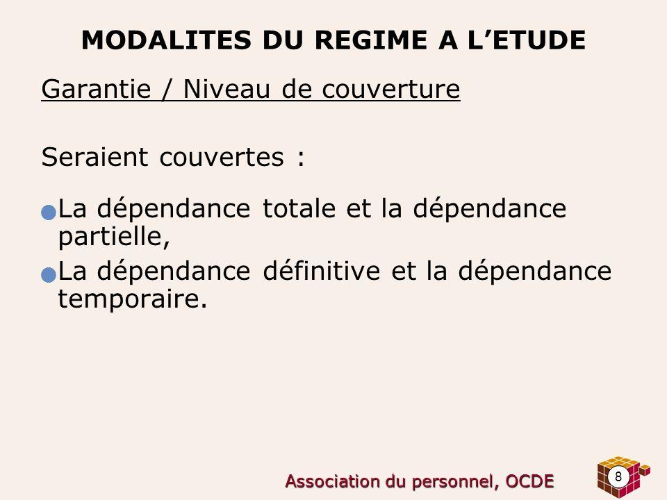 8 Association du personnel, OCDE MODALITES DU REGIME A LETUDE Garantie / Niveau de couverture Seraient couvertes : La dépendance totale et la dépendan