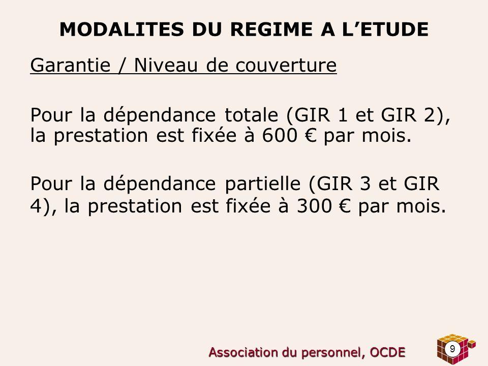 9 Association du personnel, OCDE MODALITES DU REGIME A LETUDE Garantie / Niveau de couverture Pour la dépendance totale (GIR 1 et GIR 2), la prestatio