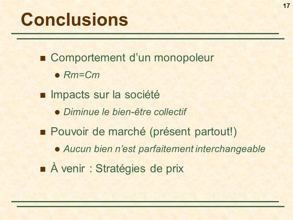 17 Conclusions Comportement dun monopoleur Rm=Cm Impacts sur la société Diminue le bien-être collectif Pouvoir de marché (présent partout!) Aucun bien nest parfaitement interchangeable À venir : Stratégies de prix