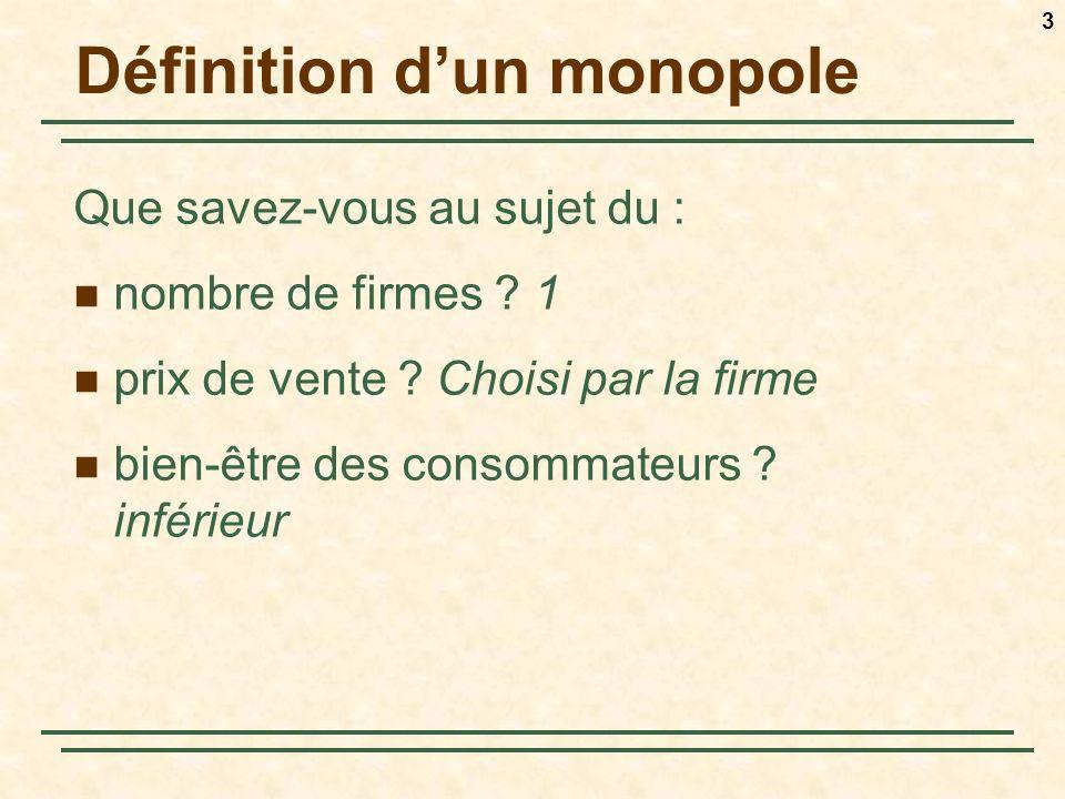 3 Définition dun monopole Que savez-vous au sujet du : nombre de firmes .
