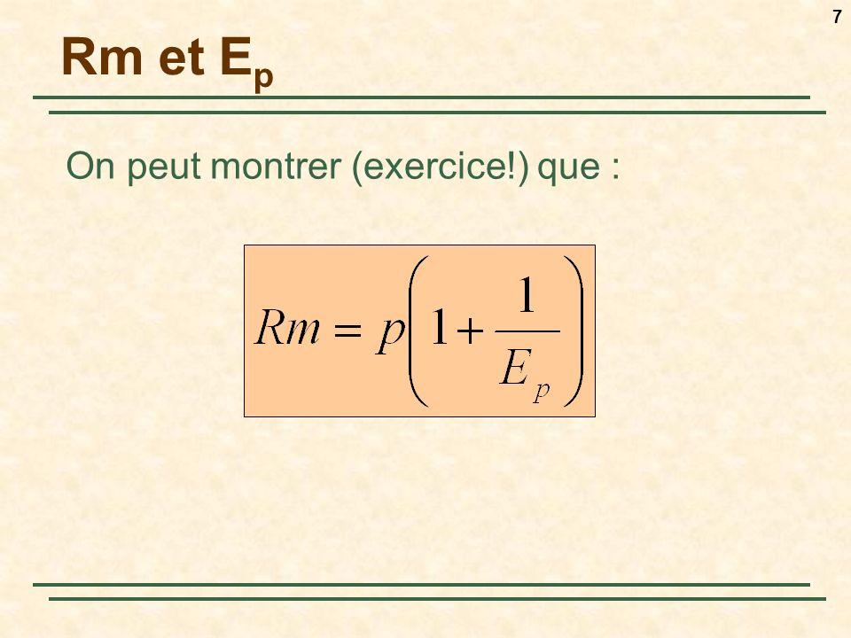 7 Rm et E p On peut montrer (exercice!) que :