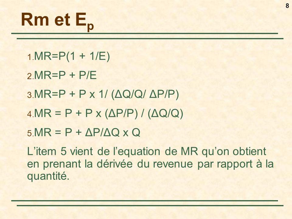 8 Rm et E p 1.MR=P(1 + 1/E) 2. MR=P + P/E 3. MR=P + P x 1/ (ΔQ/Q/ ΔP/P) 4.
