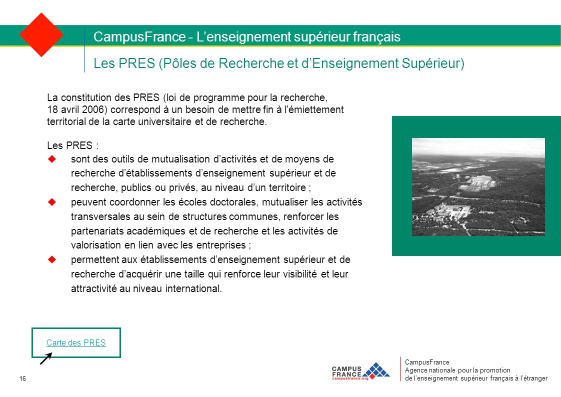 CampusFrance Agence nationale pour la promotion de lenseignement supérieur français à létranger Les PRES (Pôles de Recherche et dEnseignement Supérieu