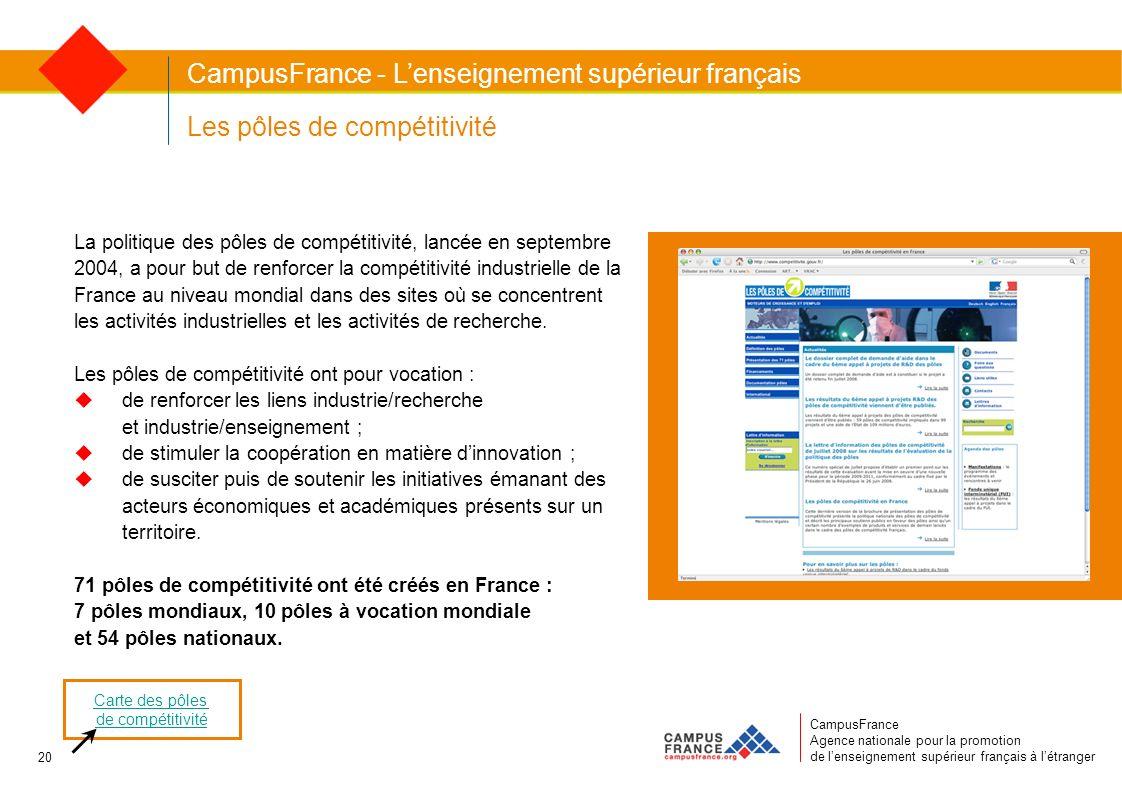 CampusFrance Agence nationale pour la promotion de lenseignement supérieur français à létranger Les pôles de compétitivité La politique des pôles de c