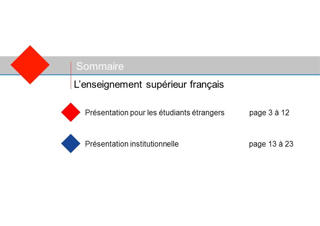 Sommaire Présentation pour les étudiants étrangerspage 3 à 12 Présentation institutionnelle page 13 à 23 Lenseignement supérieur français
