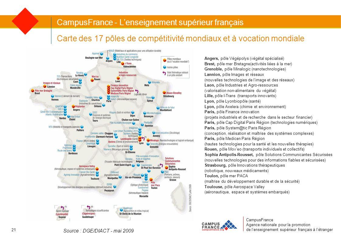 CampusFrance Agence nationale pour la promotion de lenseignement supérieur français à létranger Carte des 17 pôles de compétitivité mondiaux et à voca