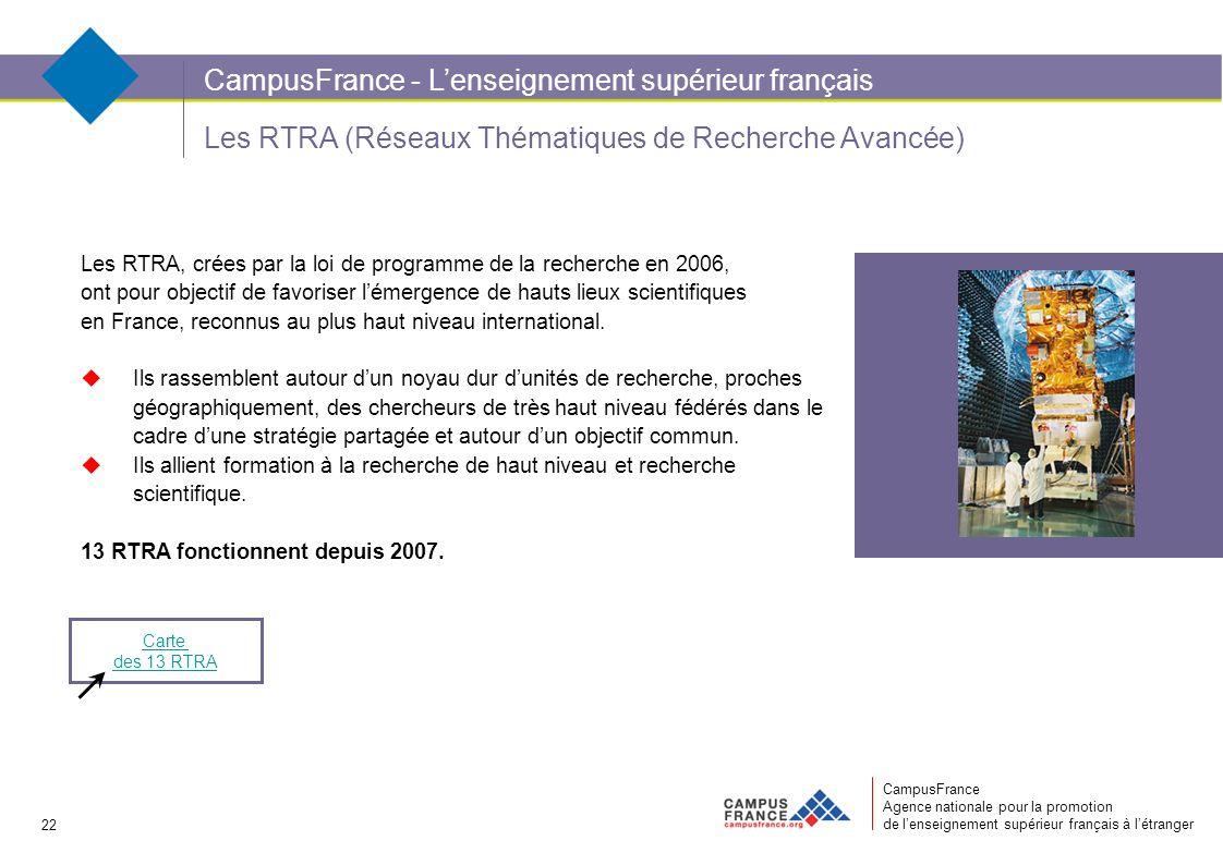 CampusFrance Agence nationale pour la promotion de lenseignement supérieur français à létranger Les RTRA (Réseaux Thématiques de Recherche Avancée) Les RTRA, crées par la loi de programme de la recherche en 2006, ont pour objectif de favoriser lémergence de hauts lieux scientifiques en France, reconnus au plus haut niveau international.