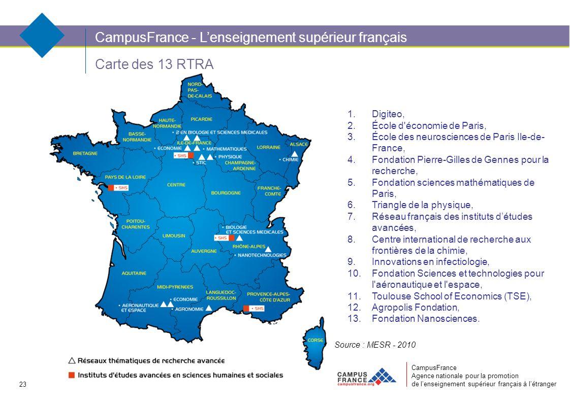 CampusFrance Agence nationale pour la promotion de lenseignement supérieur français à létranger Carte des 13 RTRA CampusFrance - Lenseignement supérie
