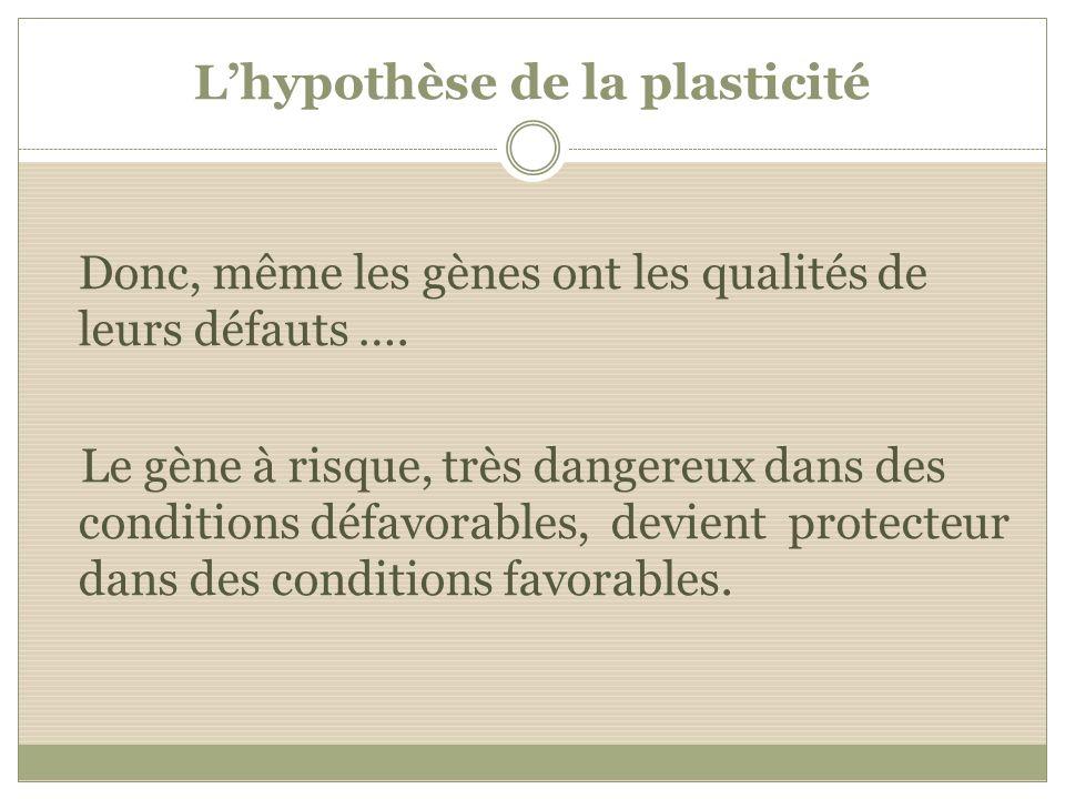 Lhypothèse de la plasticité Donc, même les gènes ont les qualités de leurs défauts …. Le gène à risque, très dangereux dans des conditions défavorable
