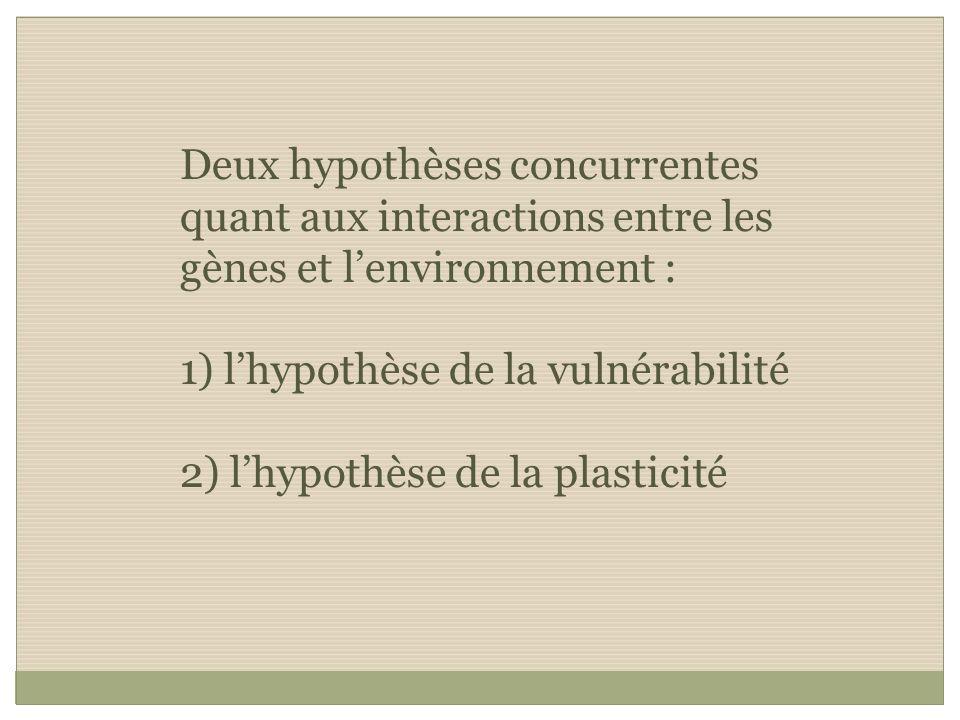 Deux hypothèses concurrentes quant aux interactions entre les gènes et lenvironnement : 1) lhypothèse de la vulnérabilité 2) lhypothèse de la plastici