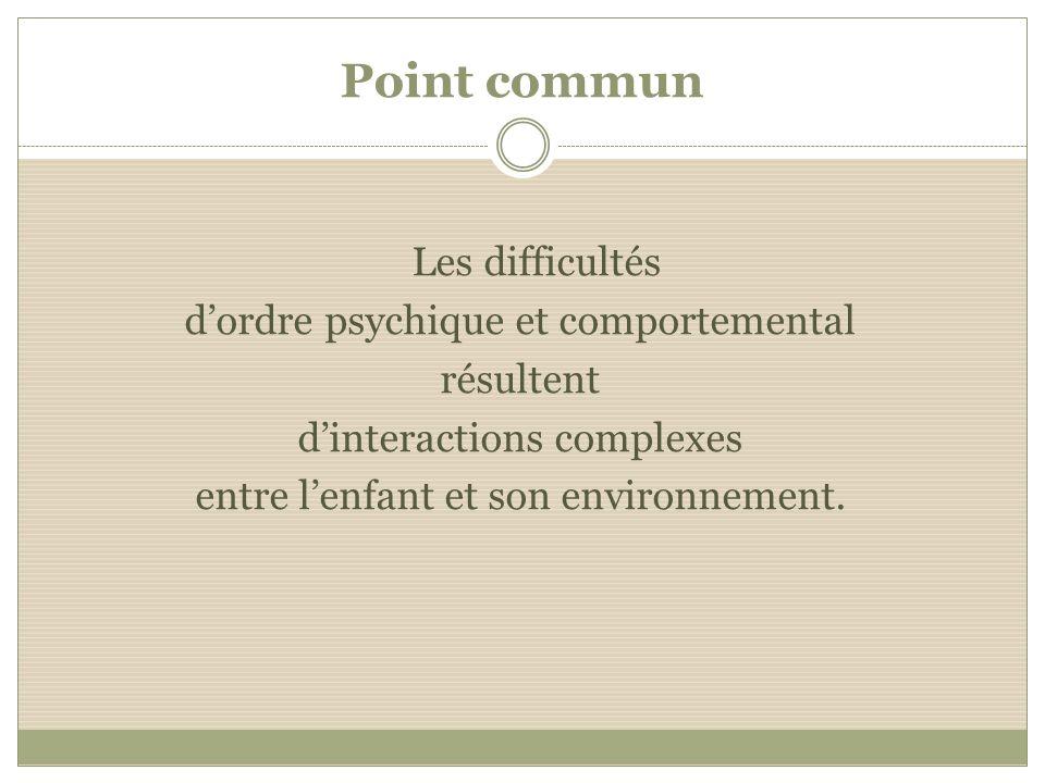 Point commun Les difficultés dordre psychique et comportemental résultent dinteractions complexes entre lenfant et son environnement.