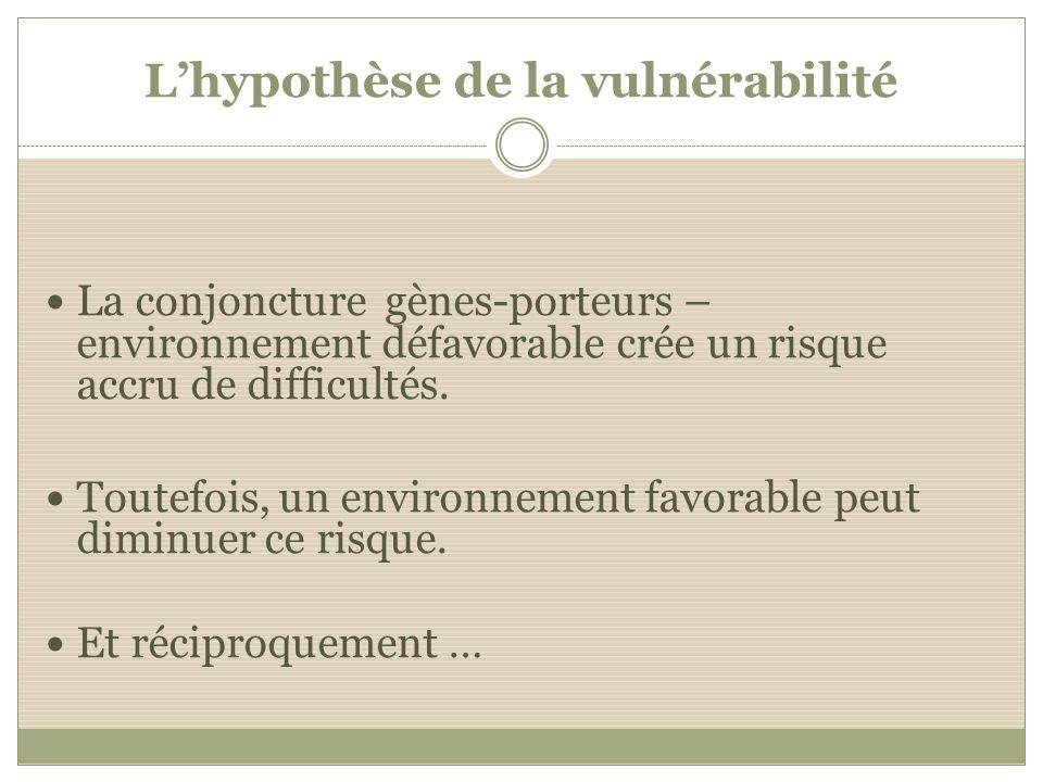 Lhypothèse de la vulnérabilité La conjoncture gènes-porteurs – environnement défavorable crée un risque accru de difficultés. Toutefois, un environnem
