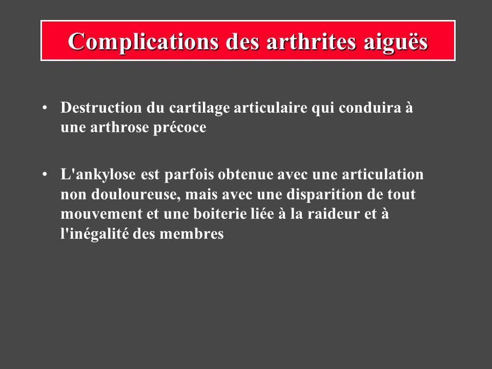 Destruction du cartilage articulaire qui conduira à une arthrose précoce L'ankylose est parfois obtenue avec une articulation non douloureuse, mais av