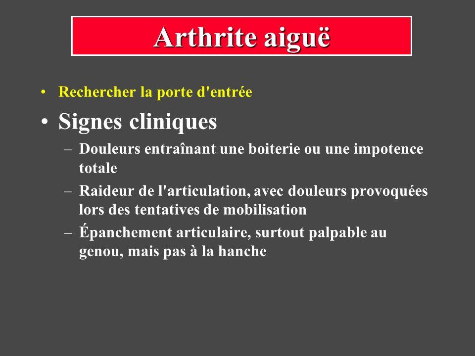 Destruction du cartilage articulaire qui conduira à une arthrose précoce L ankylose est parfois obtenue avec une articulation non douloureuse, mais avec une disparition de tout mouvement et une boiterie liée à la raideur et à l inégalité des membres Complications des arthrites aiguës