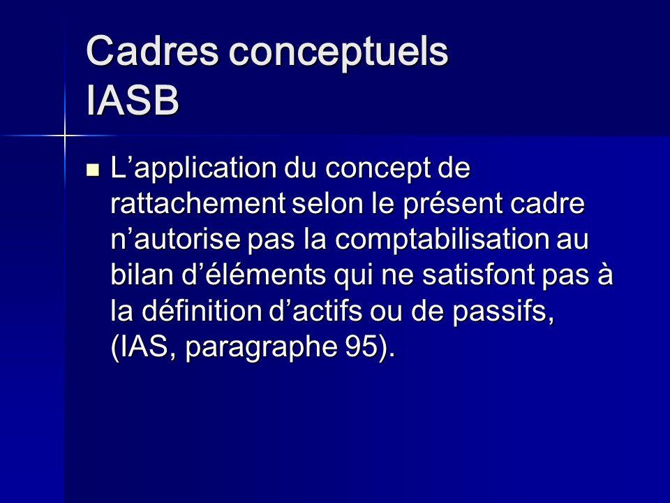 Cadres conceptuels IASB Lapplication du concept de rattachement selon le présent cadre nautorise pas la comptabilisation au bilan déléments qui ne satisfont pas à la définition dactifs ou de passifs, (IAS, paragraphe 95).