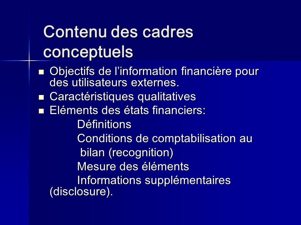 Contenu des cadres conceptuels Contenu des cadres conceptuels Objectifs de linformation financière pour des utilisateurs externes.