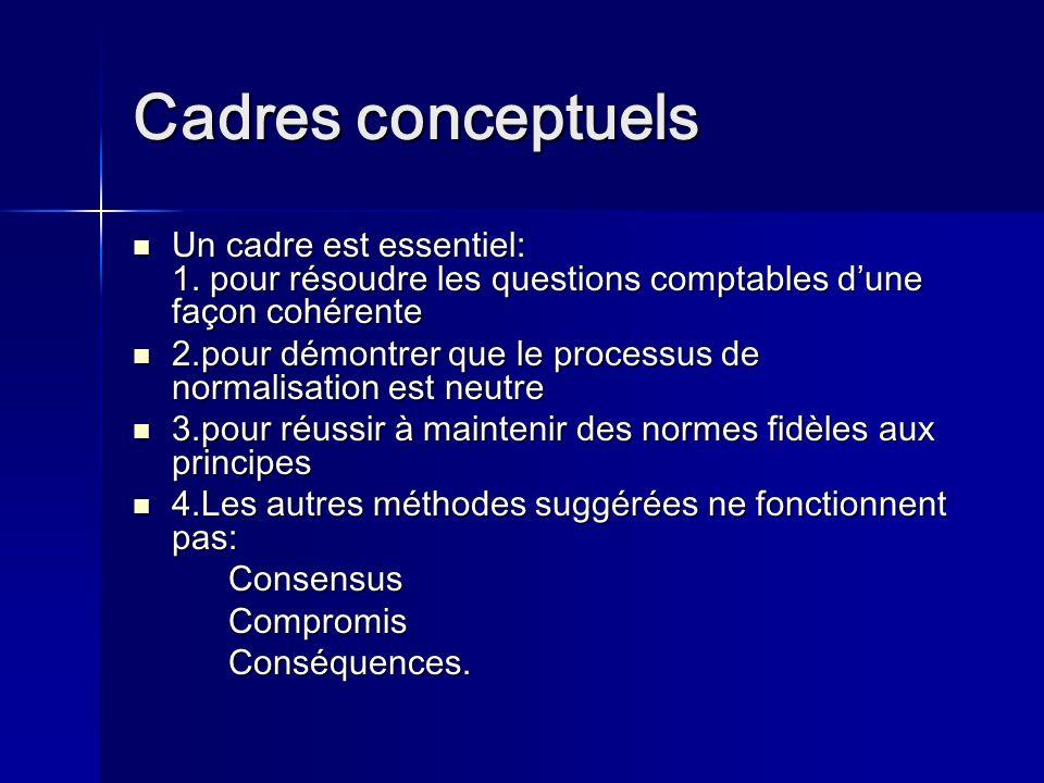 Cadres conceptuels Un cadre est essentiel: 1.