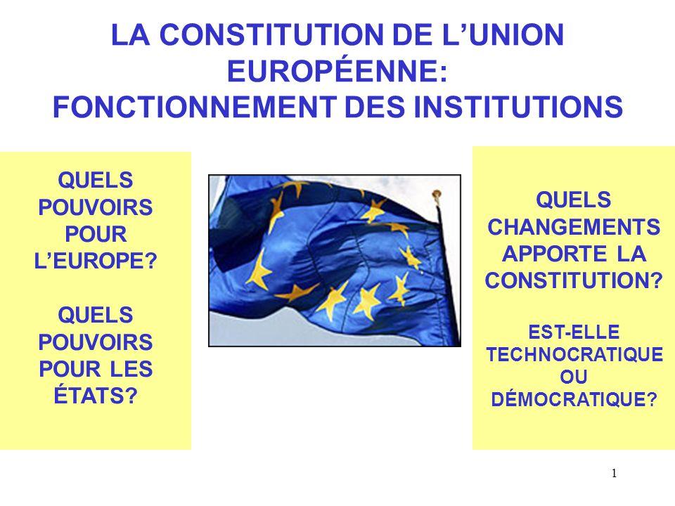 1 LA CONSTITUTION DE LUNION EUROPÉENNE: FONCTIONNEMENT DES INSTITUTIONS QUELS POUVOIRS POUR LEUROPE.