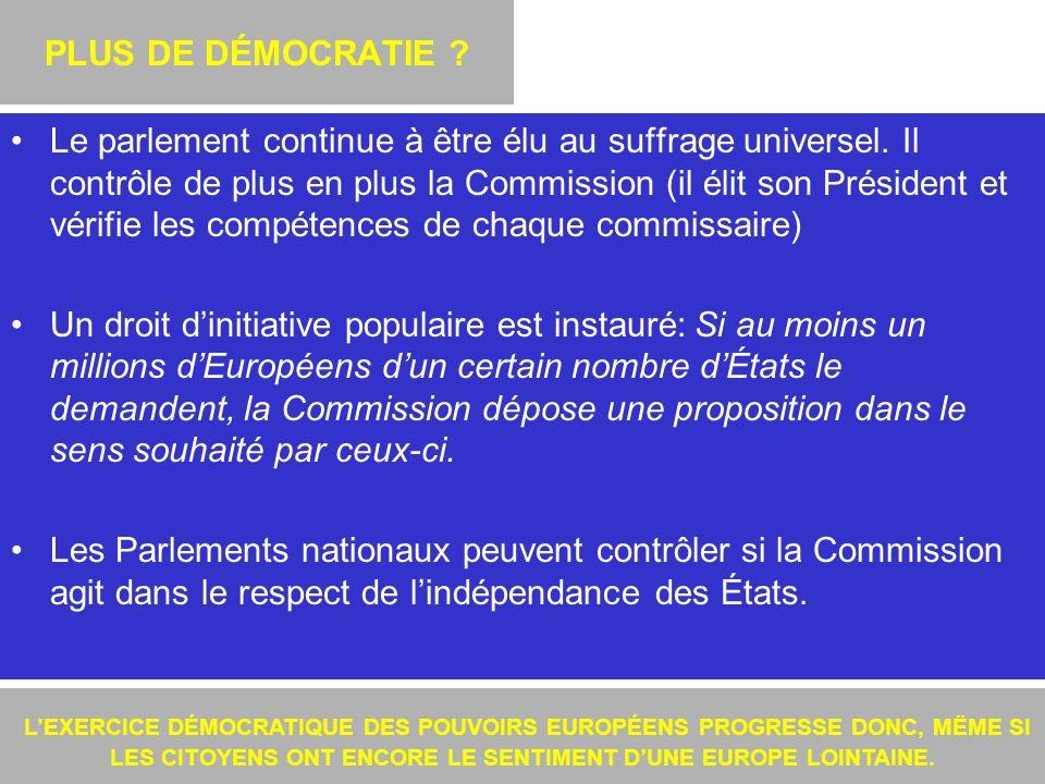 11 PLUS DE DÉMOCRATIE .Le parlement continue à être élu au suffrage universel.