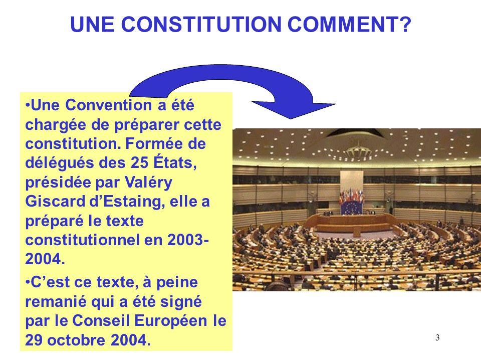 3 UNE CONSTITUTION COMMENT.Une Convention a été chargée de préparer cette constitution.