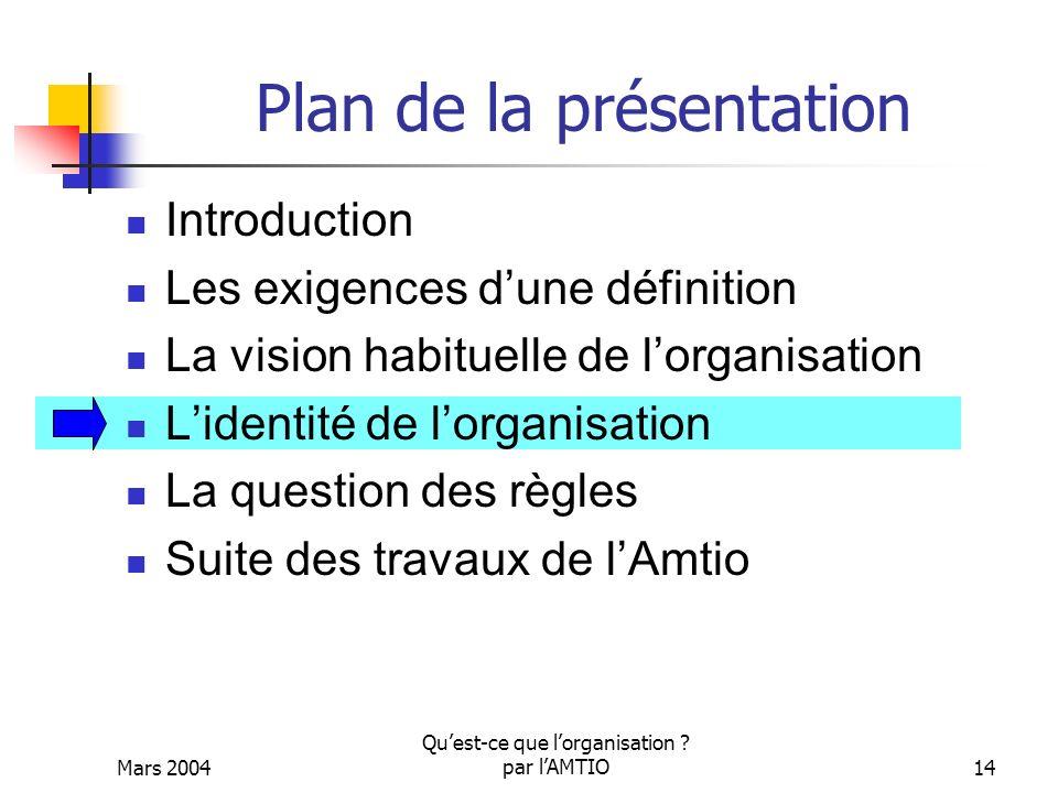 Mars 2004 Quest-ce que lorganisation ? par lAMTIO14 Plan de la présentation Introduction Les exigences dune définition La vision habituelle de lorgani