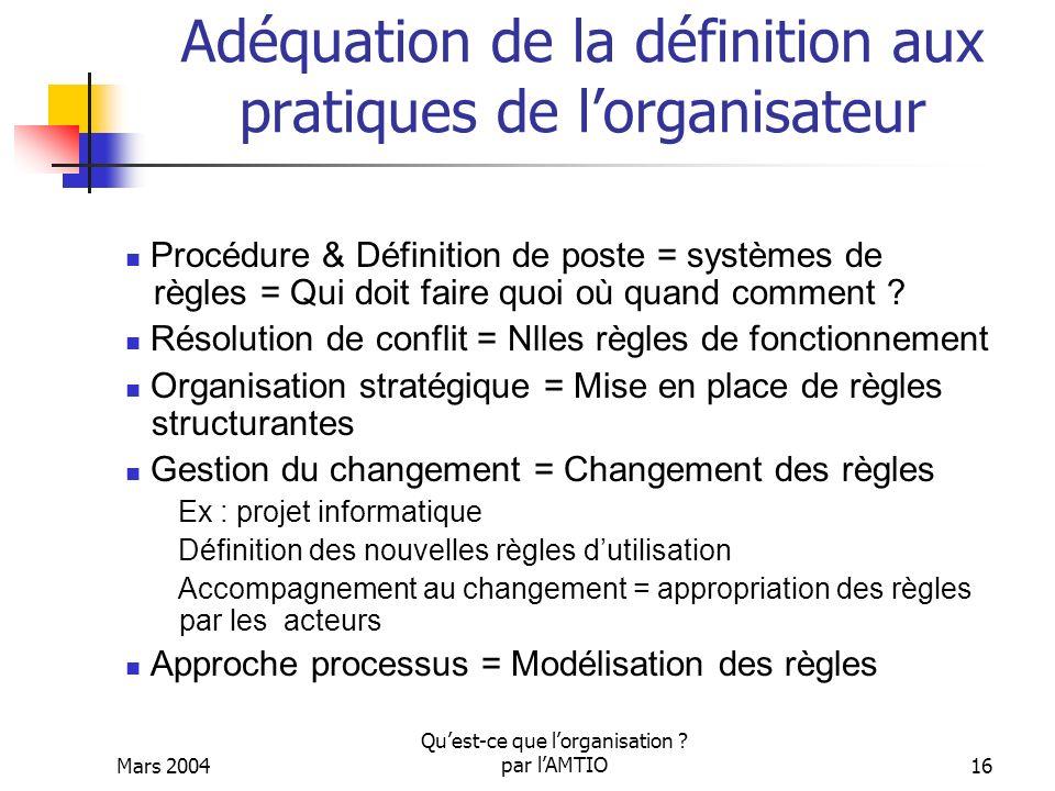 Mars 2004 Quest-ce que lorganisation ? par lAMTIO16 Adéquation de la définition aux pratiques de lorganisateur Procédure & Définition de poste = systè