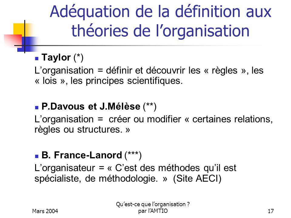 Mars 2004 Quest-ce que lorganisation ? par lAMTIO17 Adéquation de la définition aux théories de lorganisation Taylor (*) Lorganisation = définir et dé