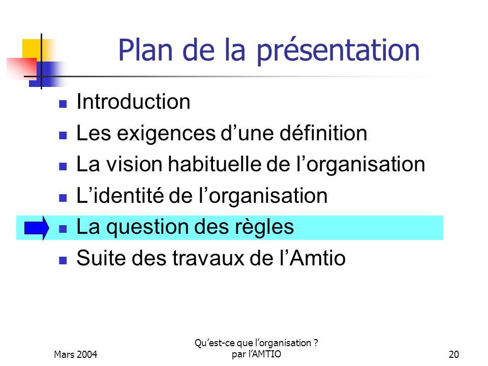Mars 2004 Quest-ce que lorganisation ? par lAMTIO20 Plan de la présentation Introduction Les exigences dune définition La vision habituelle de lorgani