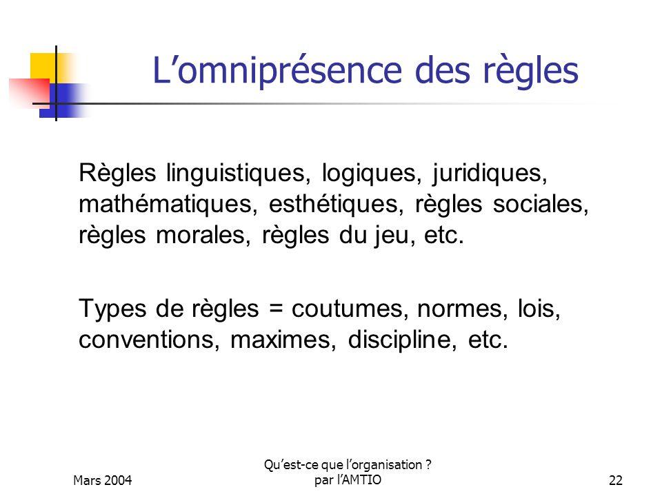 Mars 2004 Quest-ce que lorganisation ? par lAMTIO22 Lomniprésence des règles Règles linguistiques, logiques, juridiques, mathématiques, esthétiques, r